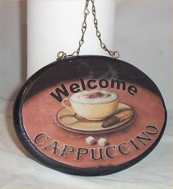 Coffee Cappuccino Welcome Sign Waiter Bistro Signs Oval Bistro Welcome