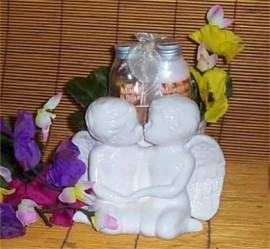 Kissing Angel Bath Gift Flower Pot Ceramic Org