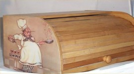 Fat Chef Bread Box Bamboo Wood Chef Holding Pan Bistro Kitchen Chefs New