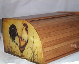 Rooster Bread Box Bamboo Wood Country Farm Kitchen Roll Top Lodge Decor
