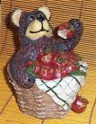 Bear & Apple Ceramic Bank Cabin Lodge Country Home Decor