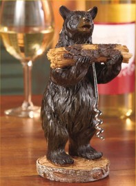 Bear cork Screw Holder 2 PC set Lodge Cabin Country Decor Wine Corkscrew