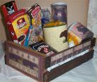 Bear Hunters Wood Crate Gift Basket Coffee Mug Cookies Candy Nuts Cards Jerky