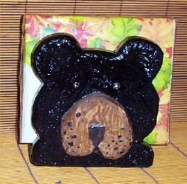 Black Bear Napkin Holder Lodge Cabin Kitchen Decor