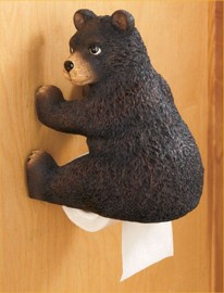 BEAR WOODLAND TOILET PAPER HOLDER LOG CABIN LODGE BATHROOM HOME DECOR