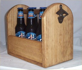 Handcrafted Wood Beer 6 PK Carrier Holder Tote Opener Rustic Unique Great Gift