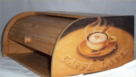Coffee latte Bread Box Bamboo Wood Cafe Bistro Kitchen Chefs New