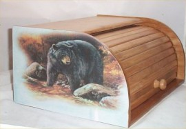 Bear Bread Box Bamboo Wood Cabin Lodge Kitchen Decor Country Black Bears
