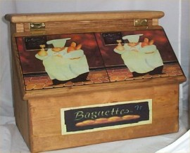 Bread Box Solid Hard Wood Fat Chef Bistro Waiter Kitchen Stained Golden Oak made in usa
