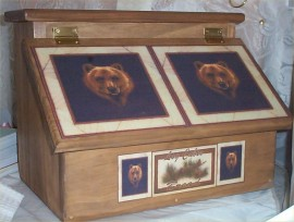 Bear Bread Box Solid Wood Lodge Cabin Country Rustic Decor Kitchen Storage