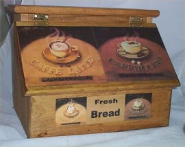 Bread Box Solid Hard Wood Coffee Latte Cafe Kitchen Stained Golden Oak USA