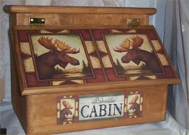 Bread Box Moose Handcrafted Solid Pine made in USA Stained Golden Oak