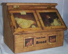 Bread Box Solid Hard Wood Rooster Farm Country Kitchen Stained Golden Oak made in USA