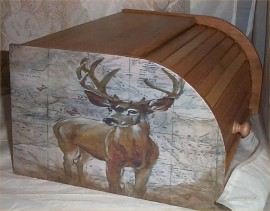 Deer Moose Bread Box Bamboo Wood Cabin Lodge Kitchen Country Decor