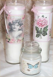Chic Tall Candles Victorian Girl Cottage Shabby Floral Glass Butterfly Set of 3