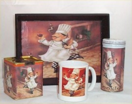 Fat Chef Gift Basket Coffee Mug Cookies Wood Tray Tea Brick Chef Bistro Kitchen