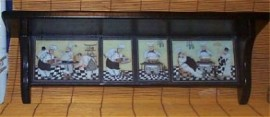 Fat Chef Solid Wood Wall Shelf Bistro Waiter Decor New b/blk