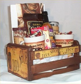 Coffee Gift Basket Cafe Java 2 Mugs Candy Towel Cookies Syrup Wood Crate