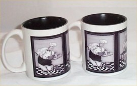 2 Fat Chef Bistro Ceramic Coffee Mug Kitchen Chefs Mugs Black & Gray