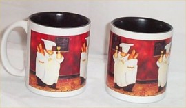 2 Fat Chef Ceramic Coffee Mugs Bistro Kitchen Chefs Mug With Bread