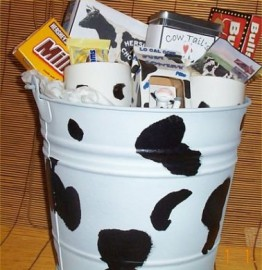 Cow Bucket Gift Basket Country Farm Gift