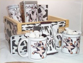 Cow Wood Crate Gift Basket Coffee Mugs Hot Chocolate Coasters Cookies Gifts Deluxe