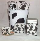 Cow Tin Bucket Med Gift Basket Coffee Mug Chocolate Coaster Figurine Cocoa #3