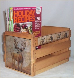 Deer Elk Magazine Rack Holder Cabin Lodge Decor Hunters Decoration Solid Wood