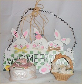 Easter Welcome Sign Ceramic Rabbit spring container Holiday Home Decor