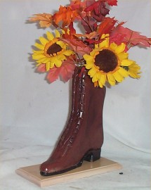 Fall Floral Arrangement Carved Wood boot Chic Decoration Handcrafted Home Decor