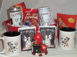 Fire Station Gift Bucket Dalmation Coffee Mugs Cocoa Cookies Candy LG