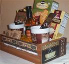 Gift Basket 2 Mugs Folgers Coffee Candy Creme Syrup Hot Chocolate Wood Crate