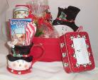Gift Basket Snowman Holiday Mug Candy Cane Serving Dish Hot Chocolate Cookies