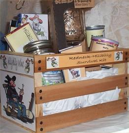 Gift Basket Hillybilly Wood Crate Gift Red-Neck Mug Jerky Nuts More