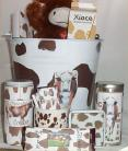 Jersey Cow Deluxe Gift Basket Stuffed Cow Coffee Mug Hot Cocoa Chocolate Tin Buc
