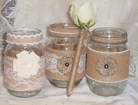 3 Mason Jar Vases Wedding Burlap Lace Bridal Ribbon Rustic Country Farm Pen