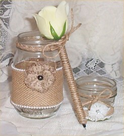 1 Mason Jar Candle Wedding Burlap Lace Bridal Ribbon Rustic Country Farm Pen