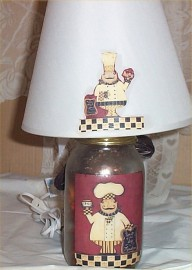 Mason Jar Lamp & Shade Fat Chef Bistro French Country Waiter Destressed Glass