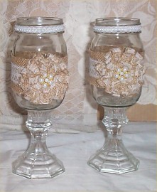 Bride + Groom Burlap Mason Jar Pearls Toasting Mug Pedestal Mugs Lace #3