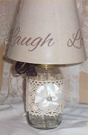Mason Jar Lamp Country Farm Chic Lace Burlap Ribbon French Country