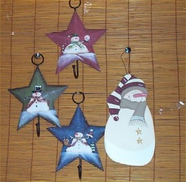 Metal Star Hooks + Snowman Holiday Decor Christmas Decoration 4 Pc Set