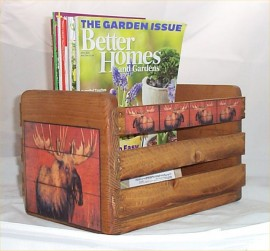 Moose Magazine Rack Holder Cabin Lodge Decor Hunters Decoration Solid Wood