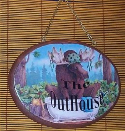 Moose Wall Plaque Sign Outhouse Door Wood Lodge Cabin