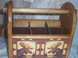 Utensil Holder Moose Country Handcrafted Kitchen Storage Caddy Solid Pine Diamon