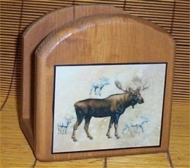 Moose Napkin Holder Solid Wood Lodge Kitchen Cabin New