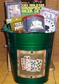 Poker Gift Basket Deluxe Tin Bucket Card Shuffler Nuts Candy Jerky