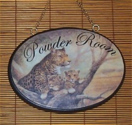 Leopard Powder Room Wood Sign Tropical Bathroom Plaque