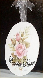 Chic Powder Room Sign Shabby Rose Home Decor Victorian