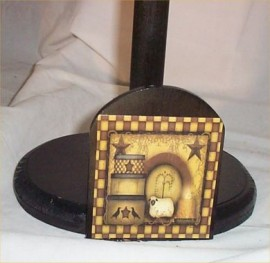 Primitive Papertowel Holder Wood Handcrafted Country Kitchen Decor New