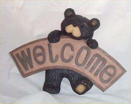 Bear Welcome Cabin Wall DEcor Lodge Sign Plaque Resin Decoration new